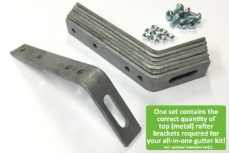 Set of galvanised top rafter brackets – We make sure your all-in-one gutter kit includes the right amount of top rafter brackets!