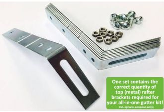 Set of metal top rafter brackets – We make sure your all-in-one gutter kit includes the right amount of top rafter brackets!