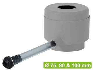 Rainwater diverter Garantia grey includes water butt connector and hose.
