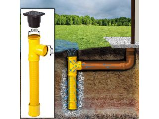 The soakaway drain with supply/ drainage collects rainwater, even when no sewer is present.