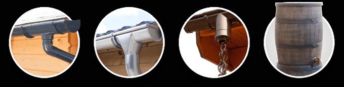 Plastic guttering | Zinc guttering | Rain chain | Water butt